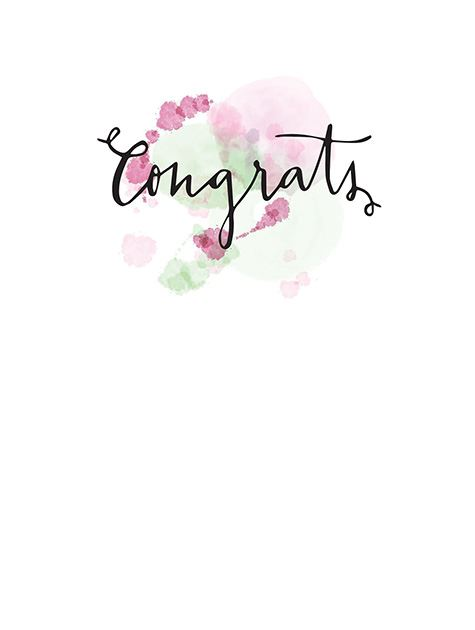 Picture of Pink Watercolor Script Congrats